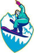 Snowboarder holding snowboard alps retro Stock Illustration