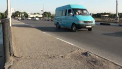Traffic on a bridge in Khujand, Tajikistan Stock Footage