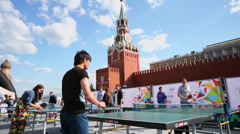 People play table tennis during VIII Forum Stock Footage
