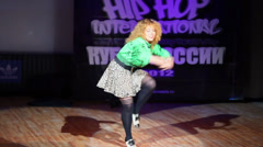 Woman active dance on Hip Hop International - Cup of Russia 2012 Stock Footage