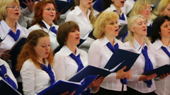 Night concert of Academic big chorus of RSUH at metro stations - stock footage