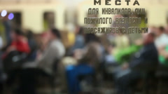 People sit on subway station in metro of Moscow, Russia Stock Footage