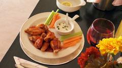 Chicken wings & legs, food Stock Footage