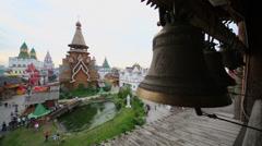 Bells ring in entertainment center Kremlin in Izmailovo Stock Footage