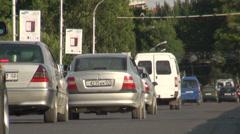 Busy traffic in Khujand, Tajikistan Stock Footage