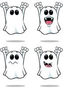 Cartoon Spooky Ghosts - Set 2 Stock Illustration