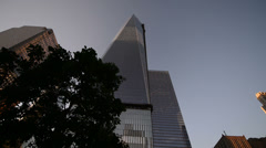 Lower Manhattan upward view - stock footage