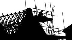 House Rakennustyömiehet Silhouette Arkistovideo