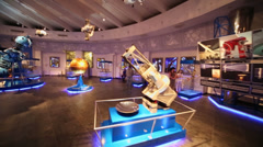 Several telescopes in Moscow Planetarium Stock Footage
