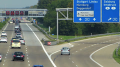Europe Germany Munich Allianz Arena Football Stadium Autobahn Motorway Traffic - stock footage
