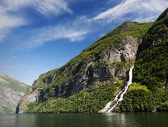 Geirangerfiorden in Norway with waterfall Stock Photos