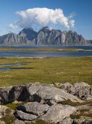 Rocky coastal landscape of Lofoten - stock photo