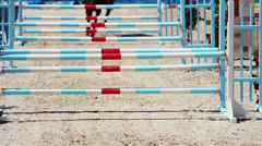 Horse with rider jumps over three barriers at competitions Stock Footage