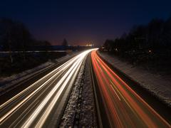 Night traffic on the highway - stock photo
