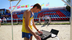Ukraine sportsman packages his electronic gun Stock Footage