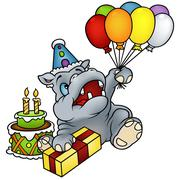 Hippo And Balloons - stock illustration