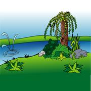Willow And Stream - stock illustration