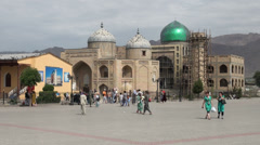 Mosque under construction at main square in Khujand, Tajikistan Stock Footage