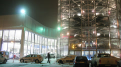 Varshavka Volkswagen Center exterior in winter at night Stock Footage