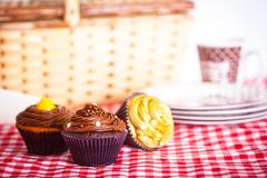 picnic and cupcakes - stock photo
