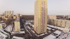 City in the morning in the winter with cars and people moving Stock Footage