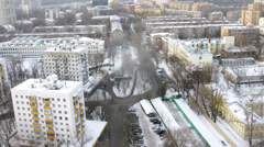 Beautiful morning panorama of a snowed city, timelapse Stock Footage