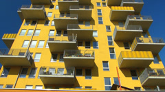 Tilt Munich modern living apartment in Westend district Germany Stock Footage