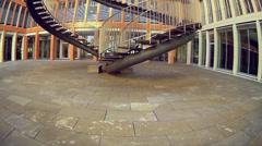 Fisheye Tilt KPMG Munich office building in Westend district Stock Footage