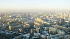 Beautiful aerial view of city in the morning, timelapse Stock Footage