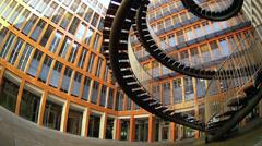Fisheye pan KPMG Munich office building in Westend district Stock Footage