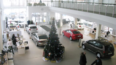 Decorated christmas tree in Varshavka Volkswagen Center Stock Footage