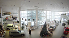 Aerial view of inside Varshavka Volkswagen Center Stock Footage