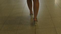 Woman legs in short red dress walking, timelapse Stock Footage