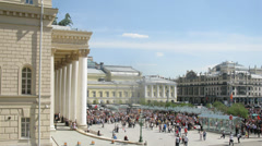 People passing by Bolshoy theater at Day of Victory Stock Footage