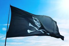 Pirate ship flag Stock Photos