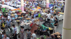 Colorful bazaar in Tajikistan, Central Asian marketplace, grocery shopping Stock Footage