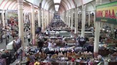 Colorful marketplace, former Soviet Union, Tajikistan bazaar, architecture Stock Footage