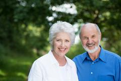 happy healthy senior couple - stock photo