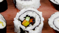 Japanese Cuisine - Maki Rolls and California Rolls Stock Footage