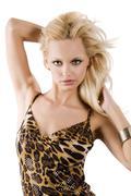 blond girl on white - stock photo