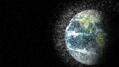 Space junk orbit debris view earth planet dramatic science global climate change Stock Footage