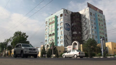 Colorfully decorated old Soviet building in Tajikistan Stock Footage