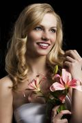 lily fashion portarit, she looks at left, she laughs - stock photo