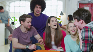 Stock Video Footage of Happy group of students studying together in their shared accommodation