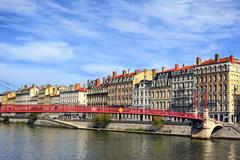 Stock Photo of lyon city and red footbridge