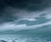 Evening cloudy sky with stars - stock illustration