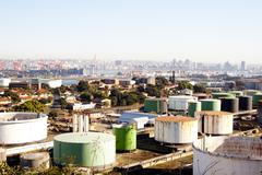 An urban residential and industrial landscape Stock Photos