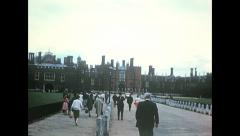 London 1960s: visitors at Hampton court Palace Stock Footage