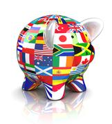 piggy bank - collection of flags - stock illustration