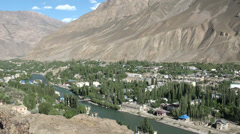 Overview of a small city in the mountain regions of Khorog in Tajikistan - stock footage